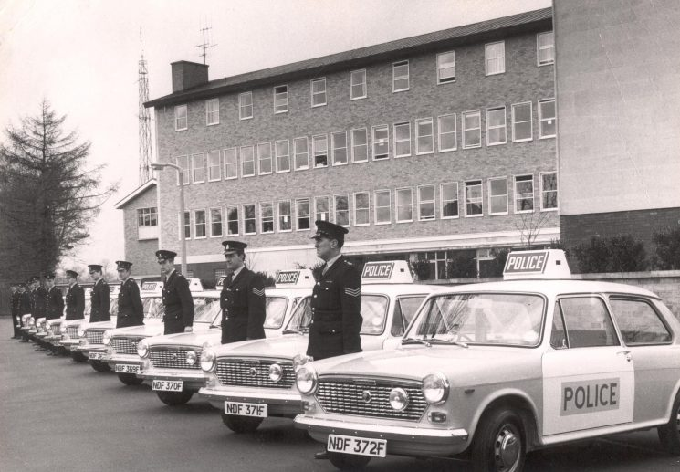 Cheltenham Division first 'Pandas'  outside Holland House, Cheltenham 1968. (Gloucestershire Police Archives URN 226)