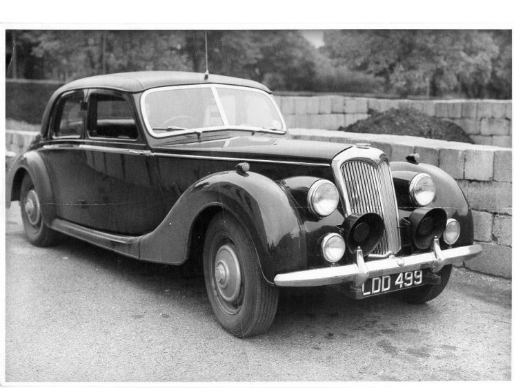 Riley 2.5 Patrol Car LDD 499 circa 1949/50. Driver at this time Police Constable Reginald Perks.  Vehicle now in the U.S.A. (Gloucestershire Police Archives URN 627)