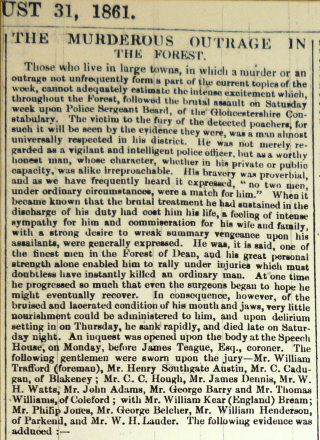 Introduction of the newspaper article found in Gloucester Journal 1861. (Gloucestershire Police Archives URN 2547)