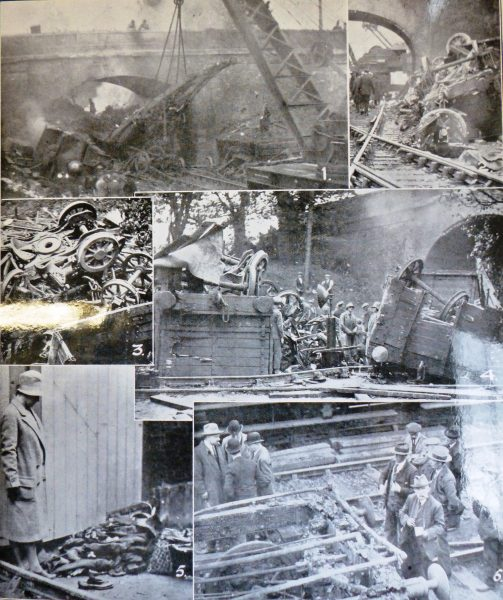 On 13 October 1928 the night mail train from Leeds to Bristol travelling at high speed through Charfield station ran into a goods train.  In the horrific crash three carriages of the mail train were thrown against a road bridge and the train itself caught fire; 15 passengers were killed and many people were badly injured.  The picture here from the Cheltenham Chronicle and Gloucester Graphic of 20 October shows how serious the accident was. (Gloucestershire Police Archives URN 2546)
