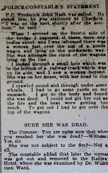 Local police officers were quickly on the scene and led the efforts to rescue the trapped passengers.  Foremost amongst these was Frederick John Nash – he joined the police in 1910 and the Register of Rural Constabulary tells us about his background and early career.  He was a witness at the Inquest following the accident and his evidence was reported in detail in the Gloucester Journal. In recognition of his bravery he was awarded the Silver Braid Gallantry Award together with £5 in January 1929 and the Register of Awards shows that he also received a medal and £2 2s 0d from the Society of Protection of Life from Fire.