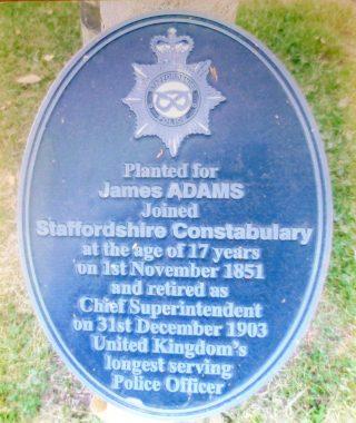 James Adams memorial plaque