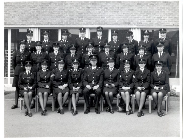 Number Seven District course for Woman Police Constables held at Oxtalls College, Gloucester 1969. Front row: third from left, Woman Police Sergeant Dulcie Blowen, fourth from left, Woman Chief Inspector Betty Hughes,fifth from left Chief Inspector Bob Parker. (Gloucestershire Police Archives URN 1018)