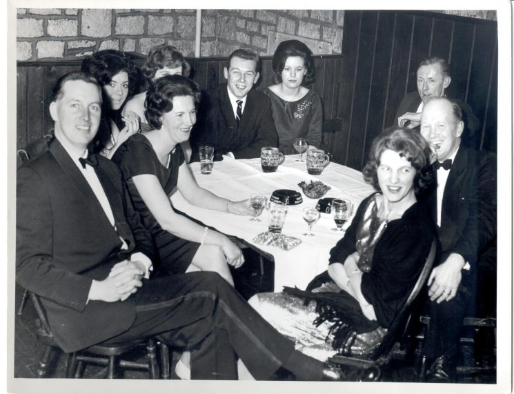 Stroud Police Ball 1962. In foreground left, Inspector and Mrs Bob Parker, right, Dennis Francis and Mrs Ann  Francis.  In background, Dennis Trayler. (Gloucestershire Police Archives URN 1020)