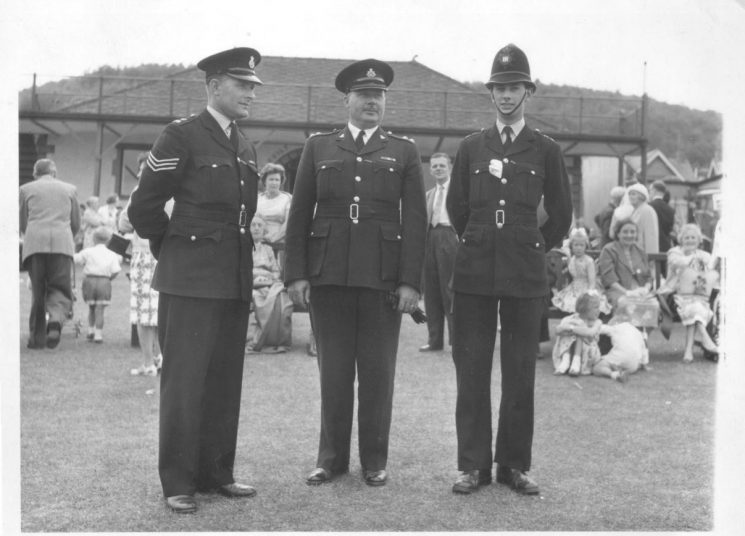 Police officers at Dursley Town Gala Day 1962. Left to right: Police Sergeant Gordon Smith, Inspector Bill Davis and Police Constable Roger Teague. (Gloucestershire Police Archives URN 1044)