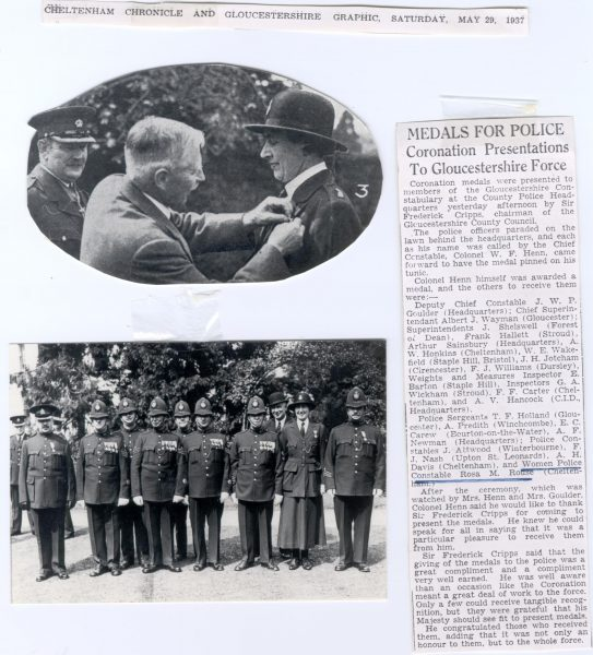Presentation of Coronation medals May 1937. Woman Police Constable Rosa M Rouse receiving Coronation Medal from Sir Frederick Cripps chairman of Gloucestershire County Council. Recipients of Coronation medals. Names in Newspaper text:  Chief Constable Henn, Detective Chief Constable Goulder, Chief  Superintendent Wayman, Superinendents: Shelswell. Hallett, Sainsbury, Hopkins, Wakefield, Williams, Jotcham, Inspectors: Barton, Wickham, F. Carter, Hancock, Police Sergeants: Holland, Predith, Carew, Newman. Police Constables J. Attwood, F. Nash, A.H. Davis, Woman Police Constable Rouse. (Gloucestershire Police Archives URN 107)
