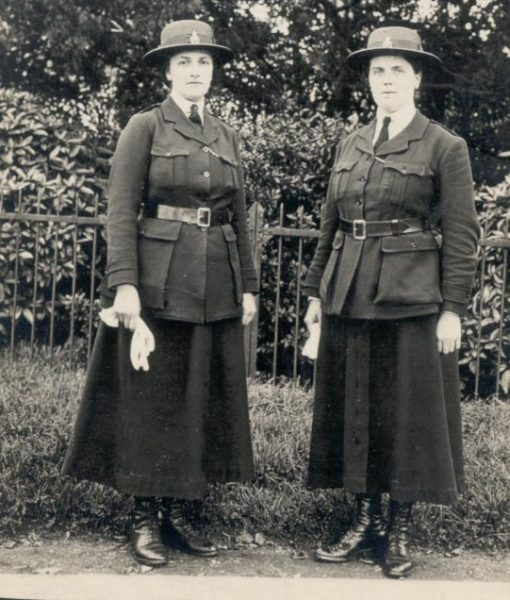 Two Woman Police Constables wearing summer wear hats. (Gloucestershire Police Archives URN 110)