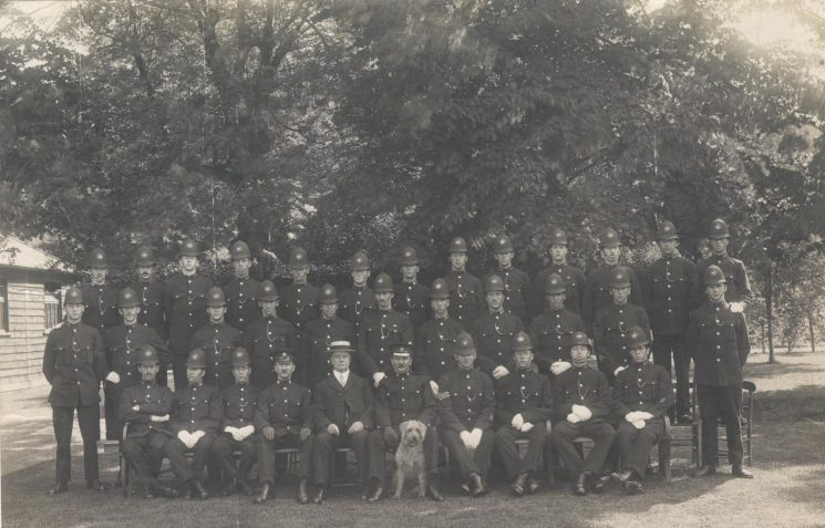 Summer 1919 Police Headquarters first recruits after first World War. Police Constable 126 Tom Pittaway, front row, second from the right. (Gloucestershire Police Archives URN 111)