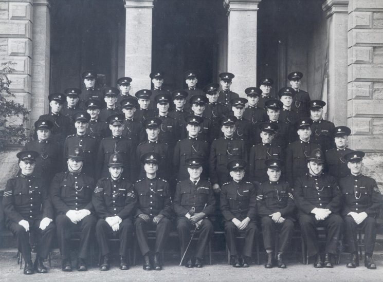 Special Constabulary and Police War Reserves 1948. Front Row second left - Police Constable W. Fardon;   second from right Police Constable Eddie Wakefield. (Gloucestershire Police Archives URN 1239)