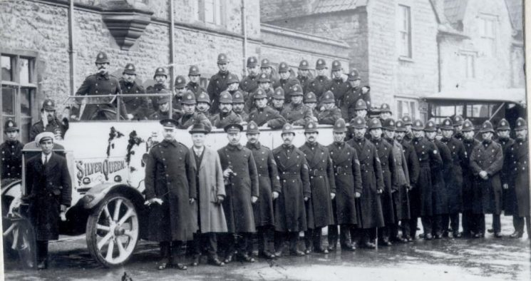 Gloucestershire Police Officers about to leave for duty at the General Strike in 1926. (Gloucestershire Police Archives URN 125)
