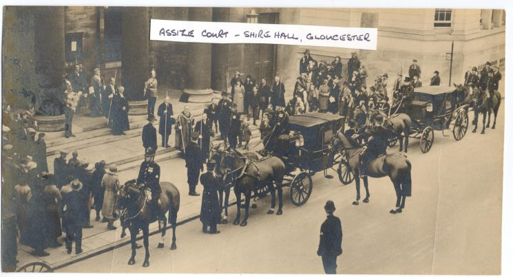 Judge leaving Assize Court Shire Hall Gloucester with police escort. (Gloucestershire Police Archives URN 126)