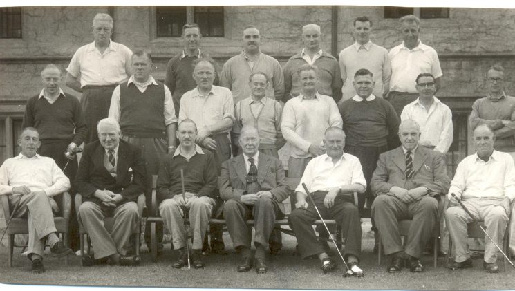 Gloucestershire Constabulary golf team versus Special Constabulary 1958. back row: Unknown, R. Stephens, R. Cox, T. Green, P. Deacon, unknown, Middle row - S. Barlow, P. Foyce, A. Finch, Special Constable Swain, Four unknown , Front row: Special Inspector Millican, A. Hancock, Special Superintendent E. Scott-Cooper, Chief Constable W. F. Henn, Special Superintendent G. Clifton, Assistant Chief Constable A.H. Carter, A. Coulston. (Gloucestershire Police Archives URN 1316)