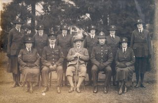Woman Police Constables Course at Police Headquarters - Holland House in 1928. Woman Police Constables Rouse; Gray (later His Majestys Inspector Scotland); Gardner; Lodge; Tonra; Fay; Seated - Woman Police Sergeant Gale; Inspector A. Hopkins; Chief Constable Stanley-Clarke; Police Constable C Wagstaff and Woman Police Constable Sandover (Gloucestershire Police Archives URN 134)