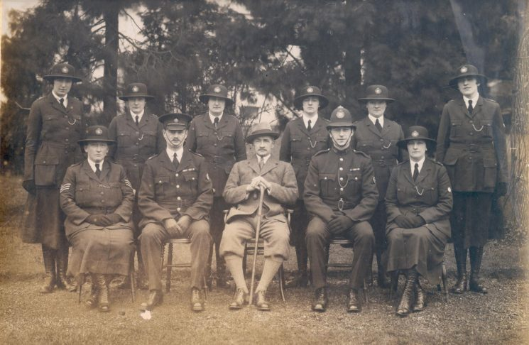 Woman Police Constables Course at Police Headquarters - Holland House in 1928. Woman Police Constables Rouse; Gray (later His Majestys Inspector Scotland);  Gardner; Lodge; Tonra; Fay; Seated - Woman Police Sergeant Gale; Inspector A. Hopkins; Chief Constable Stanley-Clarke; Police Constable C Wagstaff and Woman Police Constable Sandover. (Gloucestershire Police Archives URN 134)