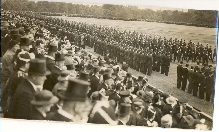 Uniformed officers during Royal Review of nations police forces, held Hyde Park 20 July 1935. (Gloucestershire Police Archives URN 1379)