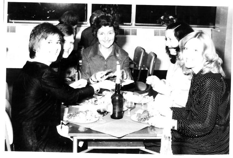 Women police reunion 1981 Left to right:  Sue Lansley nee Shah;  Ann Gisborne nee Hutchison;  Superintendent Marion Chandler;  Lindy Daley nee Humphries;  Ros Page nee Edwards. (Gloucestershire Police Archives URN 1408)