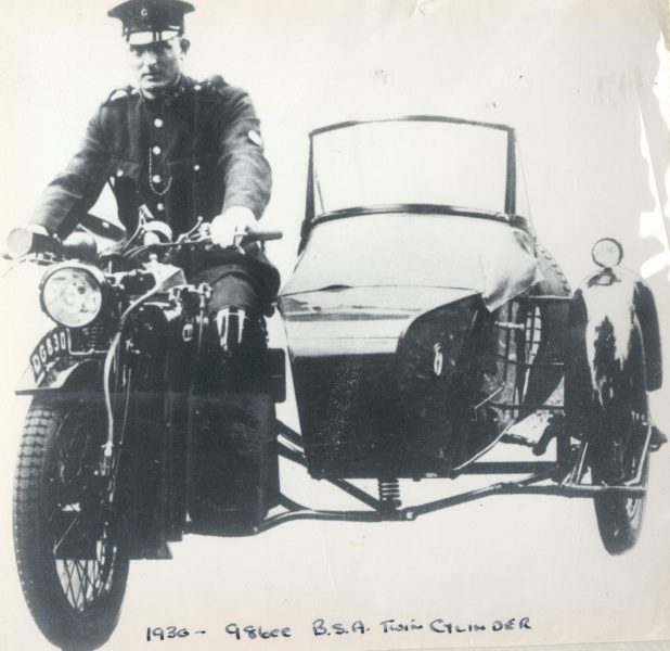 Police Constable Richard Pole on Motor cycle combination DG 830, the first motor patrol at Lydney 1930. (Gloucestershire Police Archives URN 145)