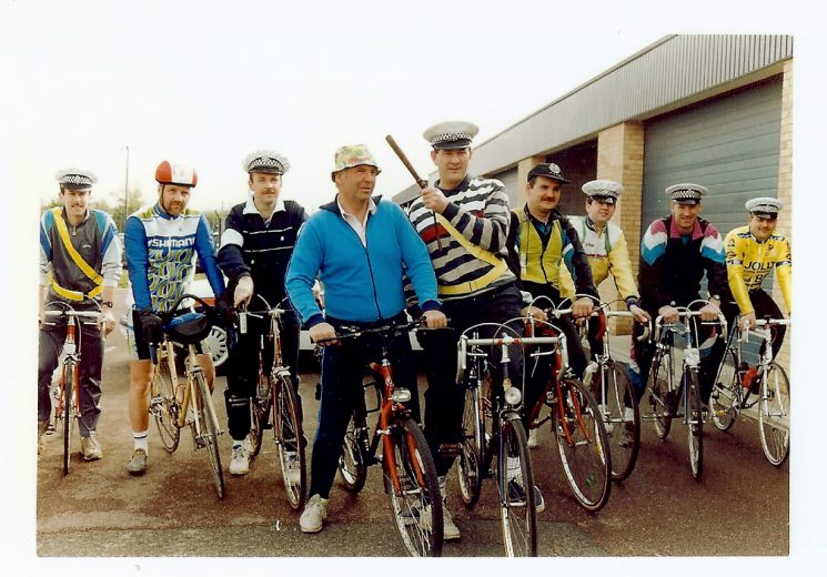 Sponsored cycle ride  from Bamfurlong to Michaelwood Service Station and return 1992. £500 was raised for the Meningitis Trust, Scoo-B-Doo unit for special care babies and Cancer and Leukemia in Children. (CLIC) S. Spencer, R. Arkell, N. Gavin, Chris Harvey, Gerry Lewis, Clive Kibble, T. Jones, R. Glover, Richard Goddard. (Gloucestershire Police Archives URN 1463)