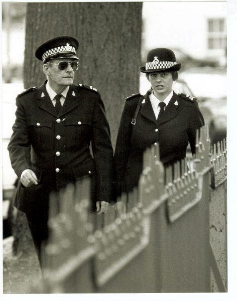 Special Constables Peters and Stewart on patrol 1993. (Gloucestershire Police Archives URN 1475)