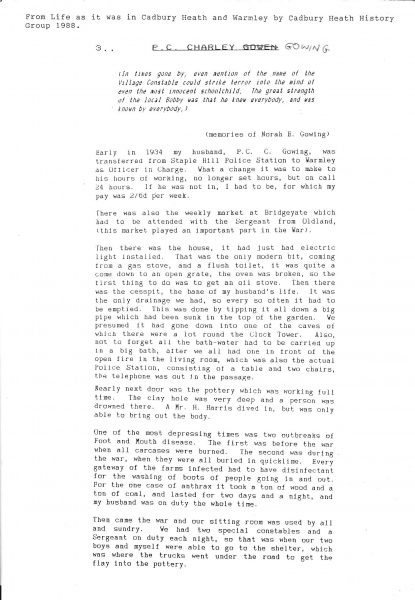Police Constable  306 Charles Stafford Gowing article from 'Life as it was in Cadbury Heath & Warmley' by the Cadbury Heath History Group in 1988 written by Mrs Nora E Gowing, widow of Charles Gowing and describing her life as a policeman's wife in 1934. (Gloucestershire Police Archives URN 1485-3)