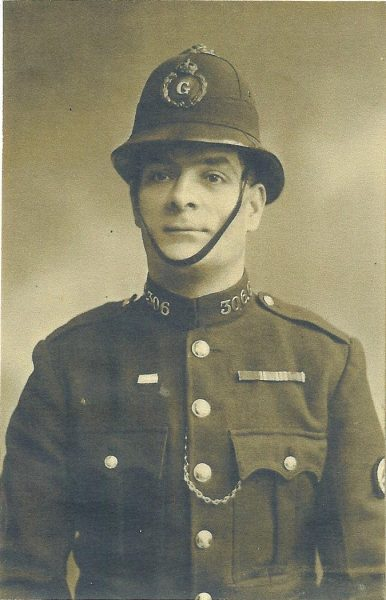 Police Constable  306 Charles Stafford Gowing awarded Silver Braid for stopping a runaway horse also  awarded £3:10 and Medal of National Horse Society of Great Britain. (Gloucestershire Police Archives URN 1485)