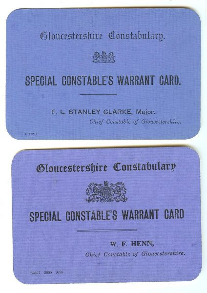 Warrant Cards for Special Constables. First warrant card issued to Henry G. Stratten 5th April 1926 by Chief Constable  Stanley - Clarke.  Second warrant card issued by Chief Constable W.F. Henn  (no name of officer). (Gloucestershire Police Archives URN 1499-1)