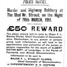 Reward Notice (£50) for Murder & Highway robbery at Stroud 1919. (Gloucestershire Police Archives URN 1504)