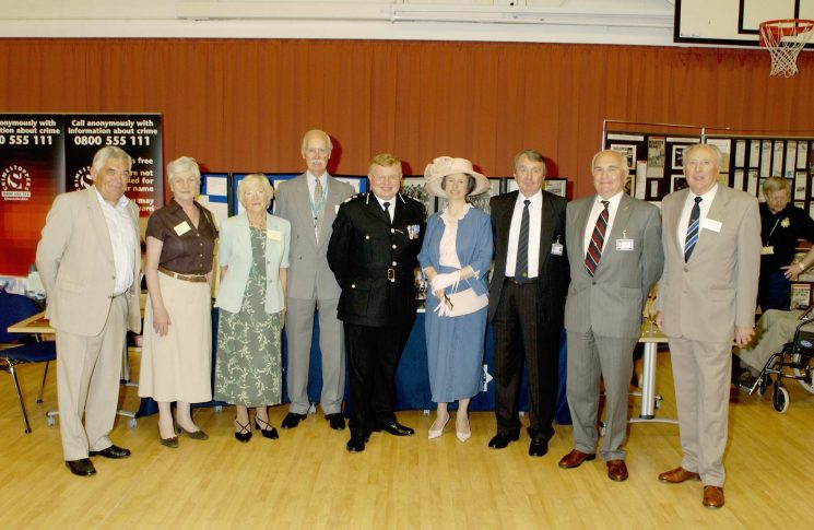 Members of the Police Archive Group at the opening of Waterwells headquarters with the Chief Constable and other members of the National Association of Retired Police Officers. From Left to right: David Long, Anne Pittaway, Barbara Parker, Bob Parker, Chief Constable Brain, Mrs Brain, Graham Murdock, Jim Taylor, Ray George. (Gloucestershire Police Archives URN 2557)