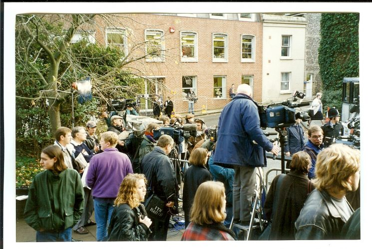 Media outside Winchester Crown Court for the trial of Rosemary West. (Gloucestershire Police Archives URN 1546)