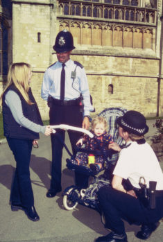 Police Constables Rob Priddy and 1470 Denise Meredith  on patrol in grounds of Gloucester Cathedral. (Gloucestershire Police Archives URN 1562)