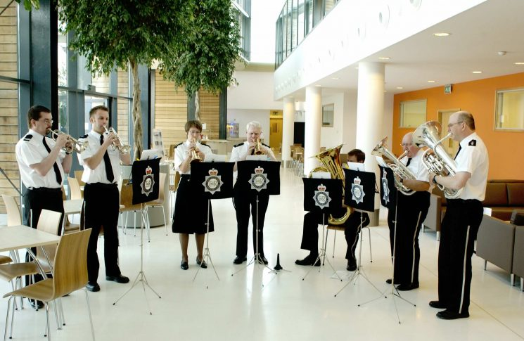 Police Band at the opening of Waterwells. (Gloucestershire Police Archives URN 2552)