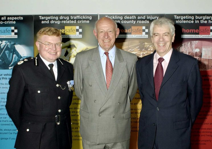 Three Chief Constables at the opening of Waterwells Headquarters. Dr Tim Brain, Mr Albert Pacey, Dr Tony Butler. (Gloucestershire Police Archives URN 2553)