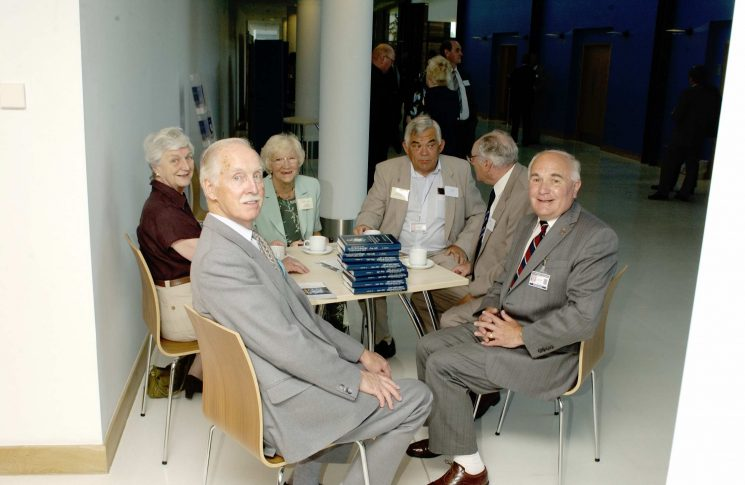 Members of the Police Archive Group at the opening of Waterwells headquarters. Left to right: Bob Parker, Anne Pittaway, Barbara Parker, David Long,  Ray George, Jim Taylor. (Gloucestershire Police Archives URN 2554)