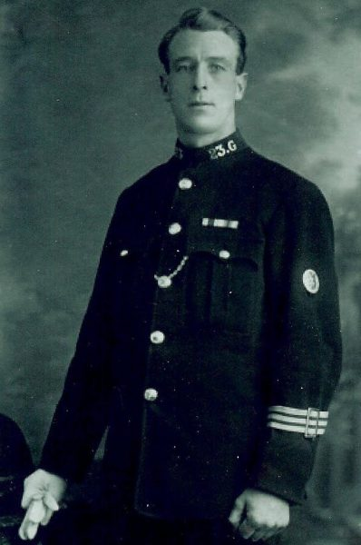 Constable no 23. Could be Charles Bolwell.  Note arm band, possibly 'on duty' and First Aid badge. (Gloucestershire Police Archives URN 1650)   Although this photograph is the same as the one above, it came from a different source with a different caption.
