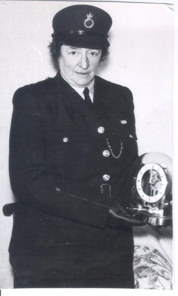 Woman Police Constable Yeoman  on her retirement in 1958. (Gloucestershire Police Archives URN 165(2))