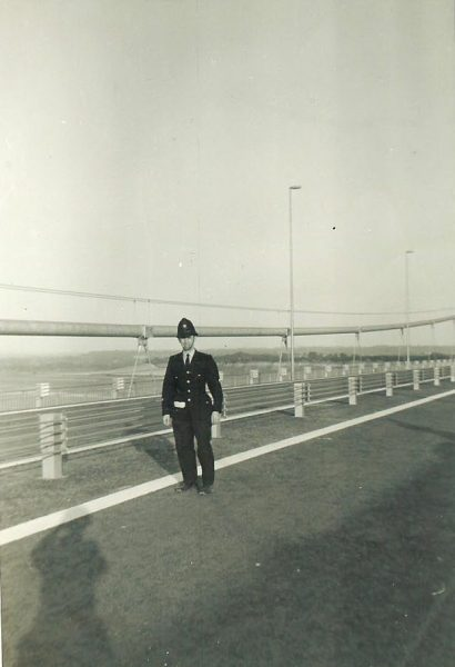 Police Constable 55 Don Gibbard on Severn Bridge 1966. (Gloucestershire Police Archives URN 1667)