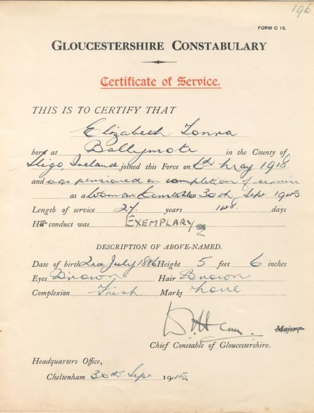 Woman Police Constable Tonra certificate of service. (Gloucestershire Police Archives URN 171)