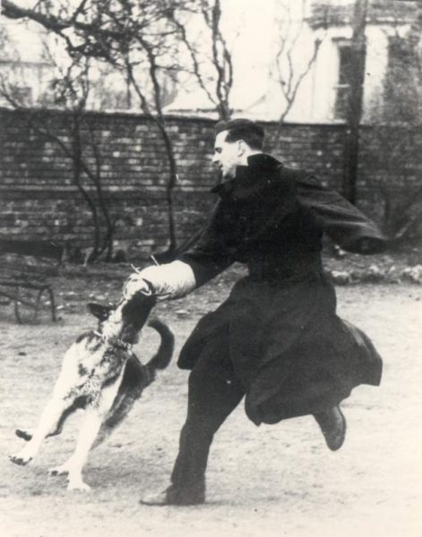 Police Constable Deacon and dog in action 1959. (Gloucestershire Police Archives URN 176)