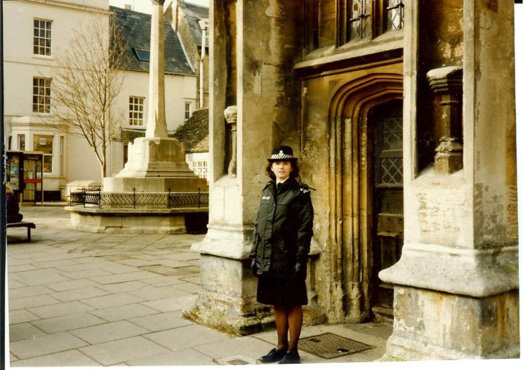 Woman Special Constable Val Brassington outside Cirencester Parish Church. (Gloucestershire Police Archives URN 1791)