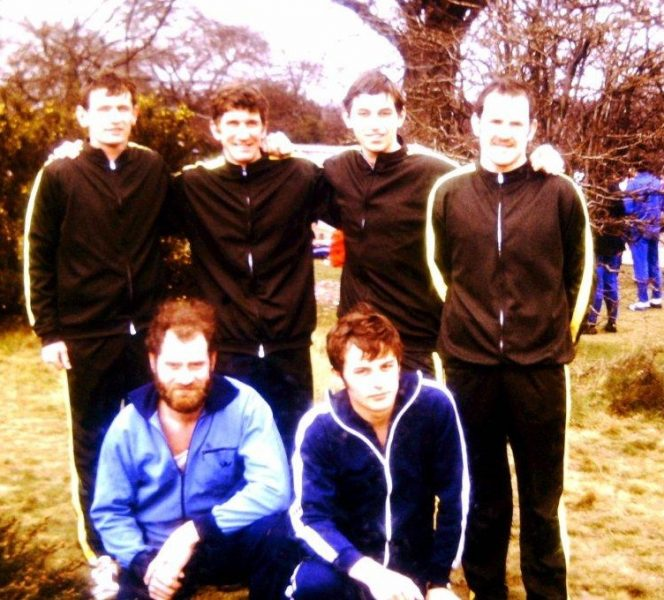 National Cross-Country Championships at Bramshill in 1975. Standing left to right: Dickie Williams, Phil Cluley, John Parsons, Gerry McGarr. Kneeling Roy Palmer and John Basford. (Gloucestershire Police Archives URN 1794)