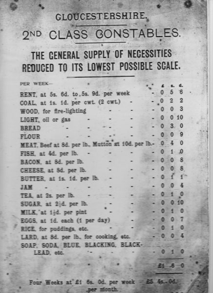 General supply of necessities reduced to lowest possible scale for second Class Constables. (Gloucestershire Police Archives URN 1817)