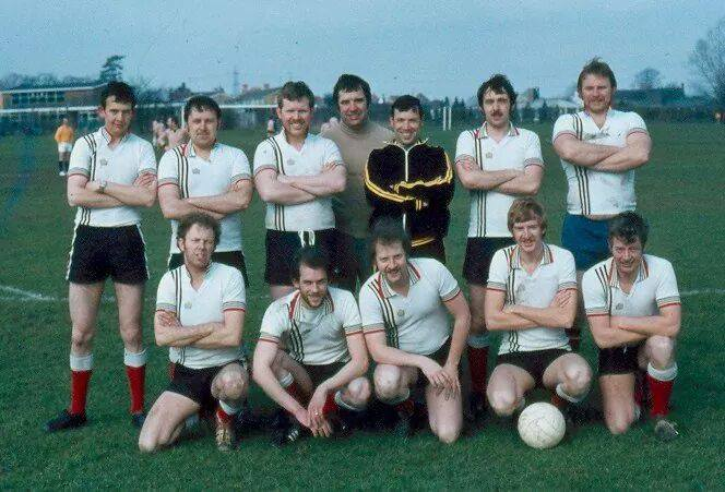 Bamfurlong Motor Patrol Football team 1979. Back row Left to Right: Keith Buggins, Ian Stroud, Rob Yates, Cliff Titley, Terry Seville, Ian Kay, Steve Jelf. Front row: Pete Hayward, Martin Sullivan, Roy Tyler, Alan Williams, Jim Harding. (Gloucestershire Police Archives URN 1851)