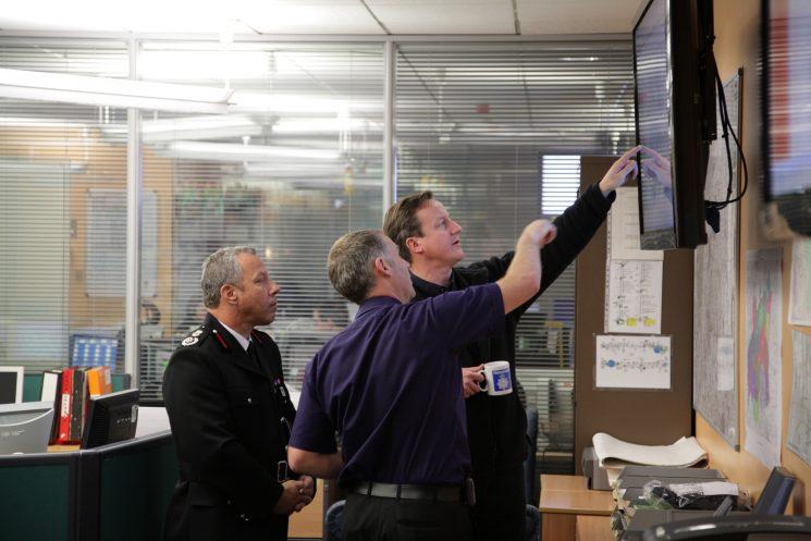 David Cameron, Prime Minister, visiting  Tri-Service Control Room  2014 Floods. (Gloucestershire Police Archives URN 1855)