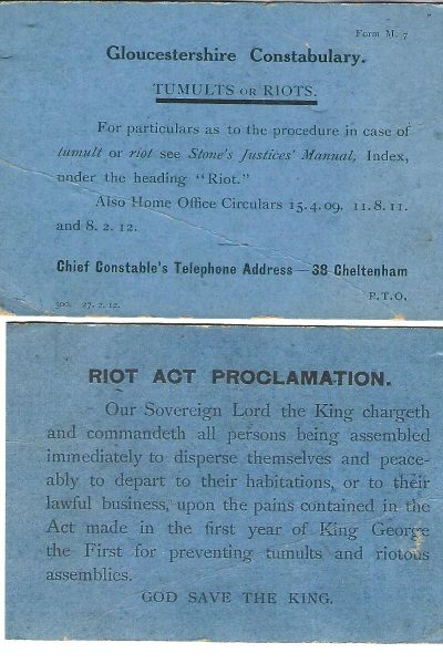Gloucesterhire Constabulary form re Tumults or Riots and the Riot Act Proclamation 1912. (Gloucestershire Police Archives URN 1866)