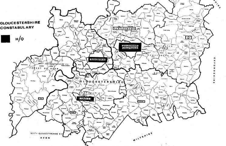 New county of Gloucestershire and divisions April 1974. (Gloucestershire Police Archives URN 205)