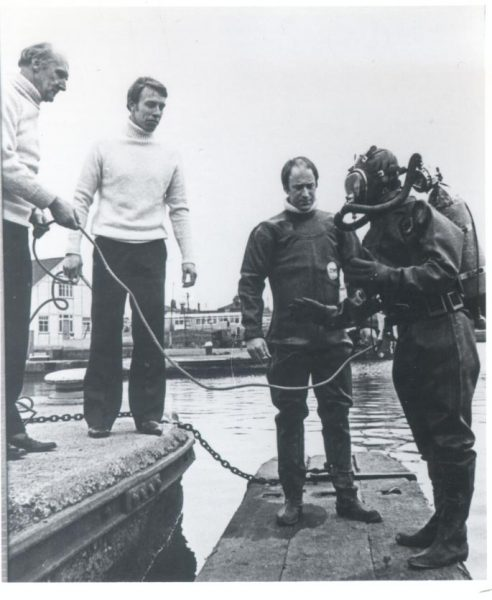 Police underwater section on training session at Gloucester Docks. Police Sergeant C. Jefferies; Police Constables J. Bennett and Roger Sandall. (Gloucestershire Police Archives URN 213)