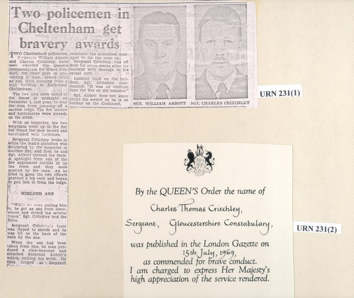 Newspaper cutting from  Gloucestershire Echo 17.7.1969 re Acts of Bravery by Police Sergeants Willam Abbott and Charles Critchley together with copy of Queen's commendation for Brave Conduct awarded to Charles Thomas Critchley. (Gloucestershire Police Archives URN 231(1))