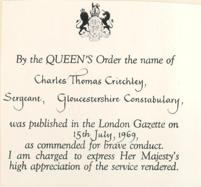 Bravery awards  July 1969. (Gloucestershire Police Archives URN 23192))