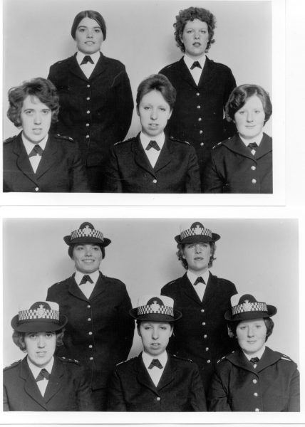 Women Police Constables displaying uniform hats and hairstyles 1977. Standing Left to right: Christine White (later West), Elaine Cook Front: Charlotte Mary Wilde , Margaret Morgan (later Richards), Rachael Roberts. (Gloucestershire Police Archives URN 232)
