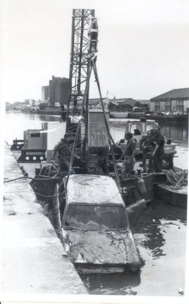 Underwater section at recovery of submerged vehicle - Gloucester Docks  -1972. (Gloucestershire Police Archives URN 251)